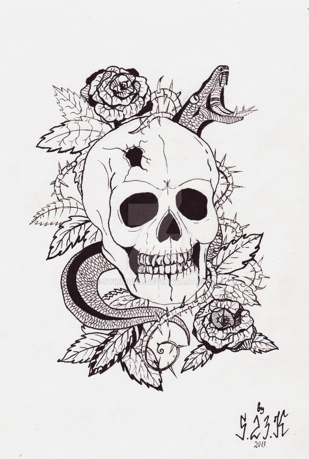 skull and snake tattoo sketch by svirid0va on deviantart