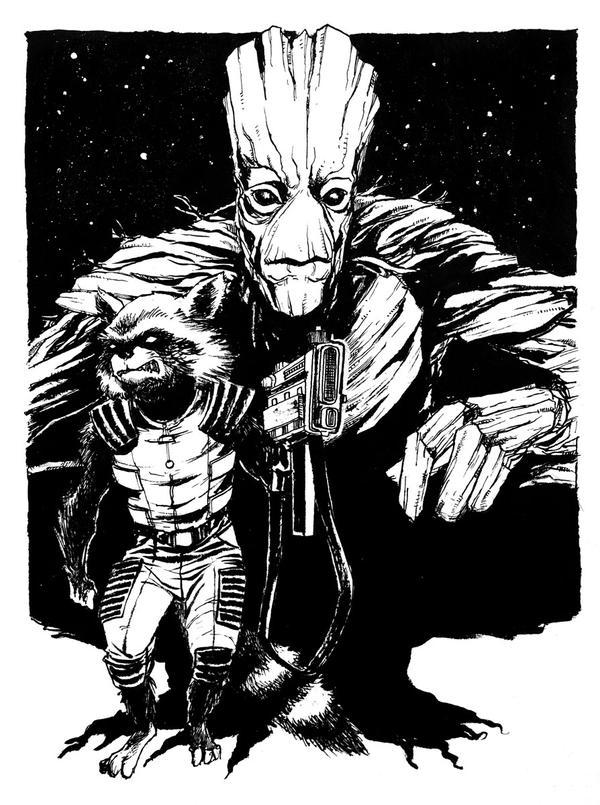 Rocket + Groot by B3NN3TT