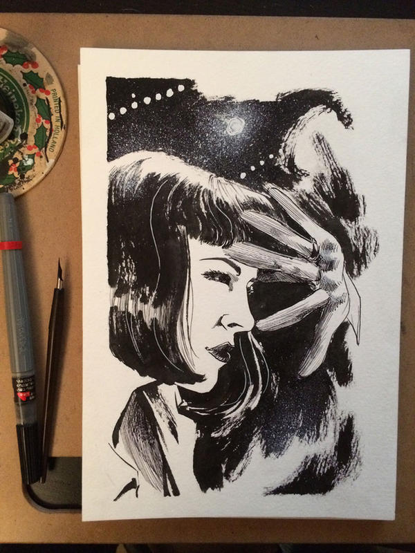 Inktober #3 - Mrs. Mia Wallace by B3NN3TT