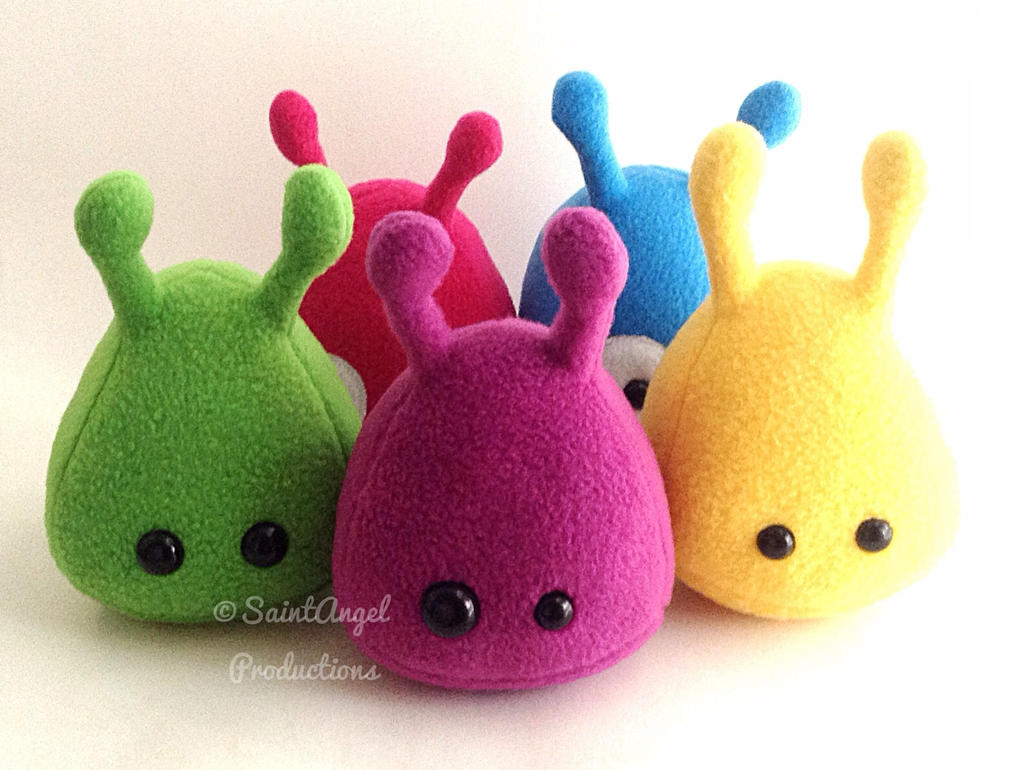 Stuffed Plushie Aliens in Green, Purple, Yellow by Saint-Angel