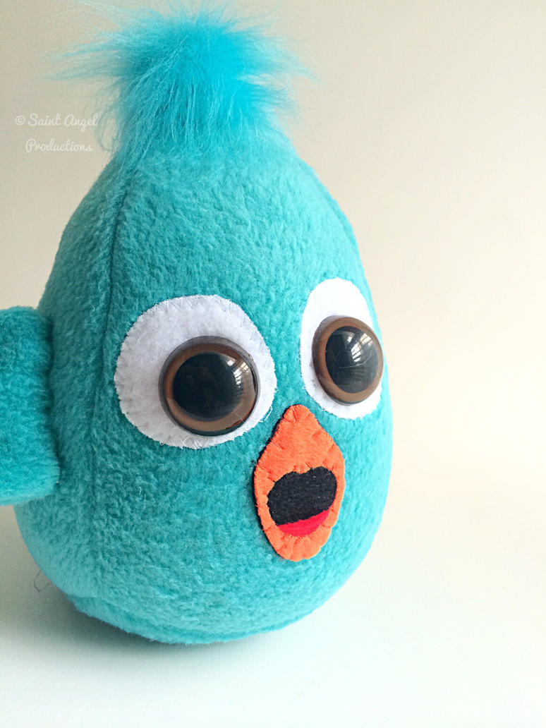Teal Aqua Bird Plush, Cute Stuffed Blue Bird Plush by Saint-Angel