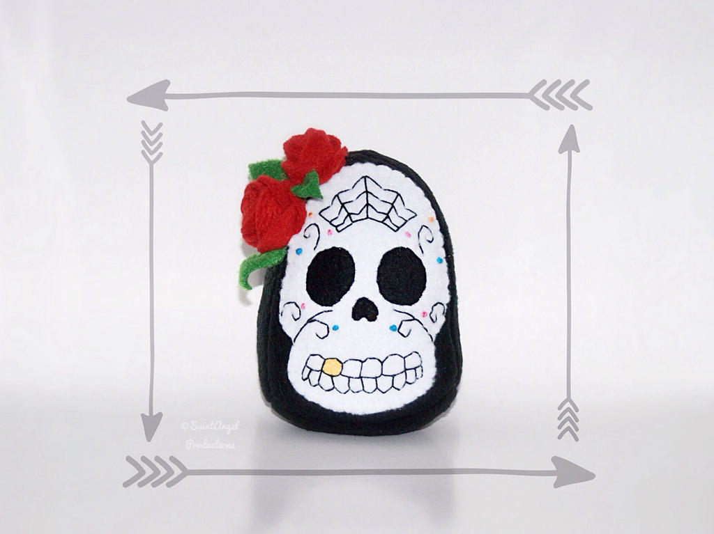 Stuffed Sugar Skull Plushie, Day of the Dead Plush by Saint-Angel
