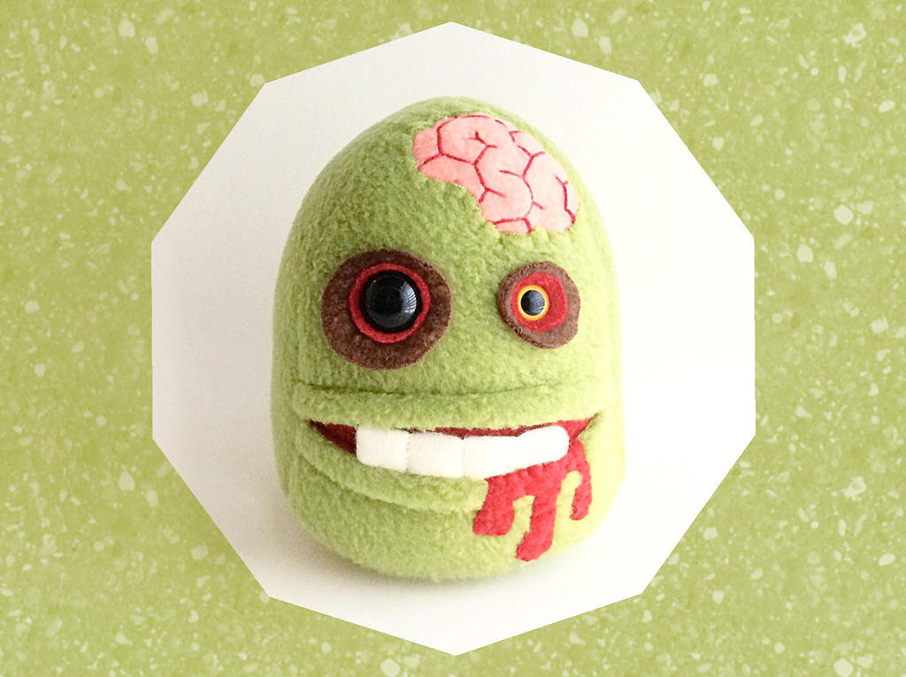 Undead Zombie Plushie, Green Walker with Pocket by Saint-Angel