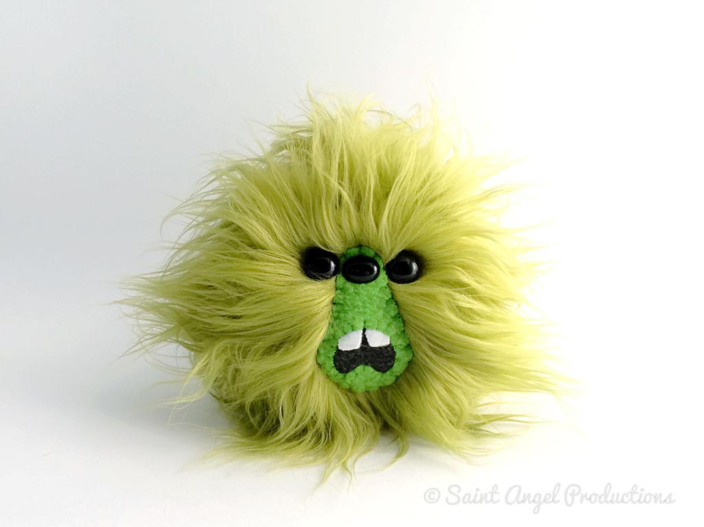 Green Furry Monster Blob Plush, Handmade Plushie by Saint-Angel