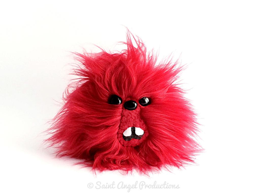 Red Furry Monster Blob Plush, Handmade Plushie by Saint-Angel