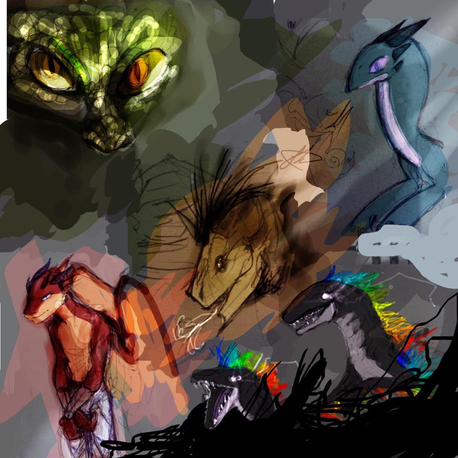 Reptillian sketchadumpdump from a while ago by TanTanTanuki