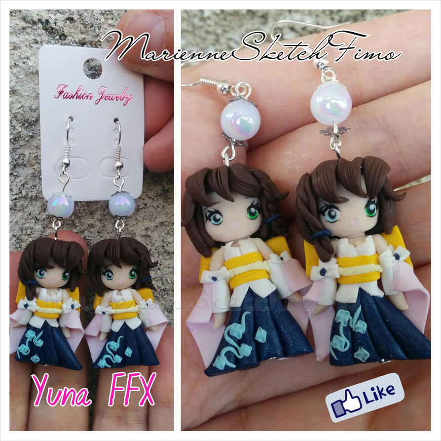 Yuna Final Fantasy X Earrings Handmade by DarkettinaMarienne