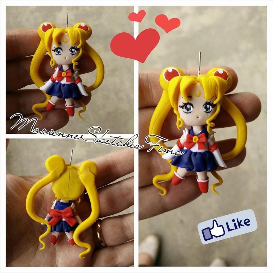 Chibi Sailor Moon Handmade Polymer Clay by DarkettinaMarienne