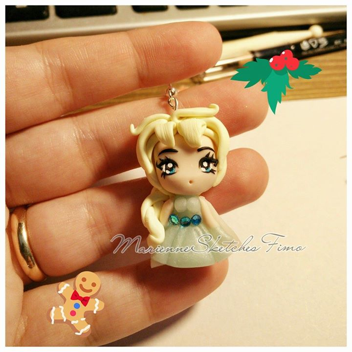 Chibi Elsa Handmade Polymer Clay Pendant by DarkettinaMarienne