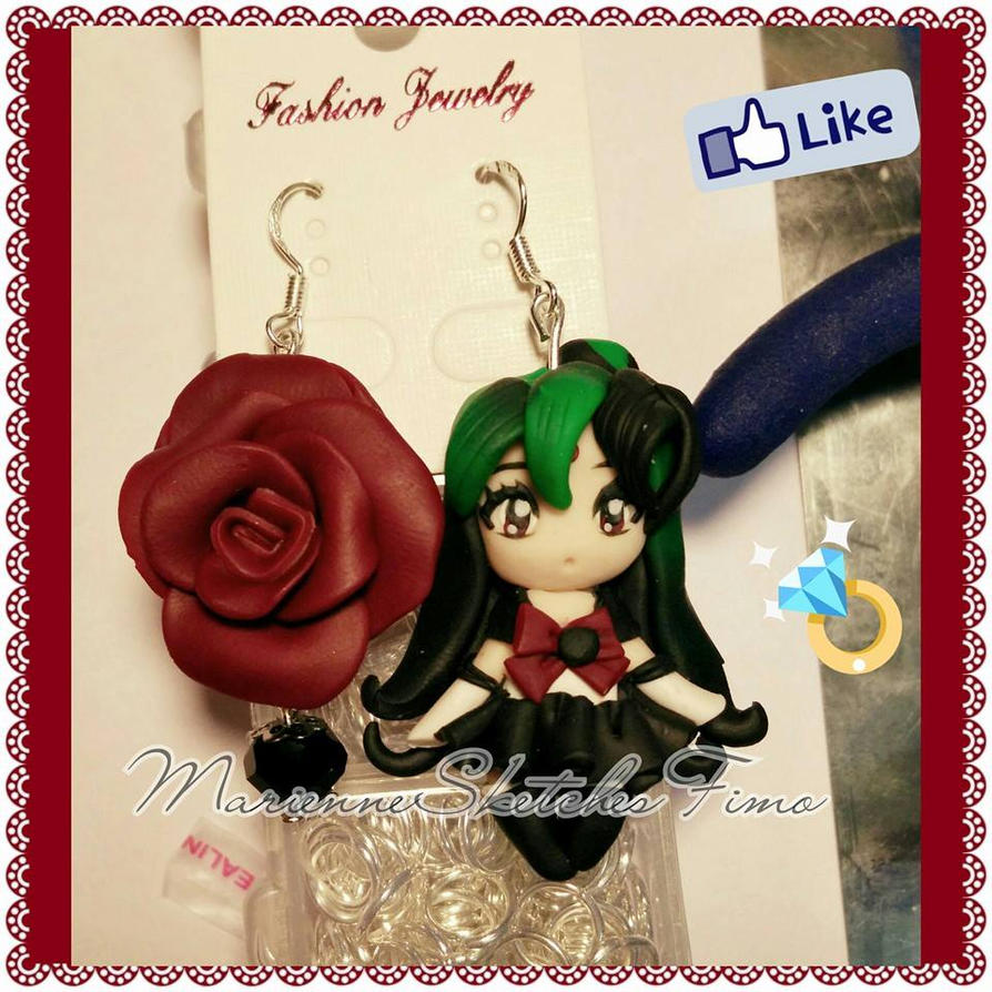 Sailor Pluto Earrings Handmade Commission by DarkettinaMarienne