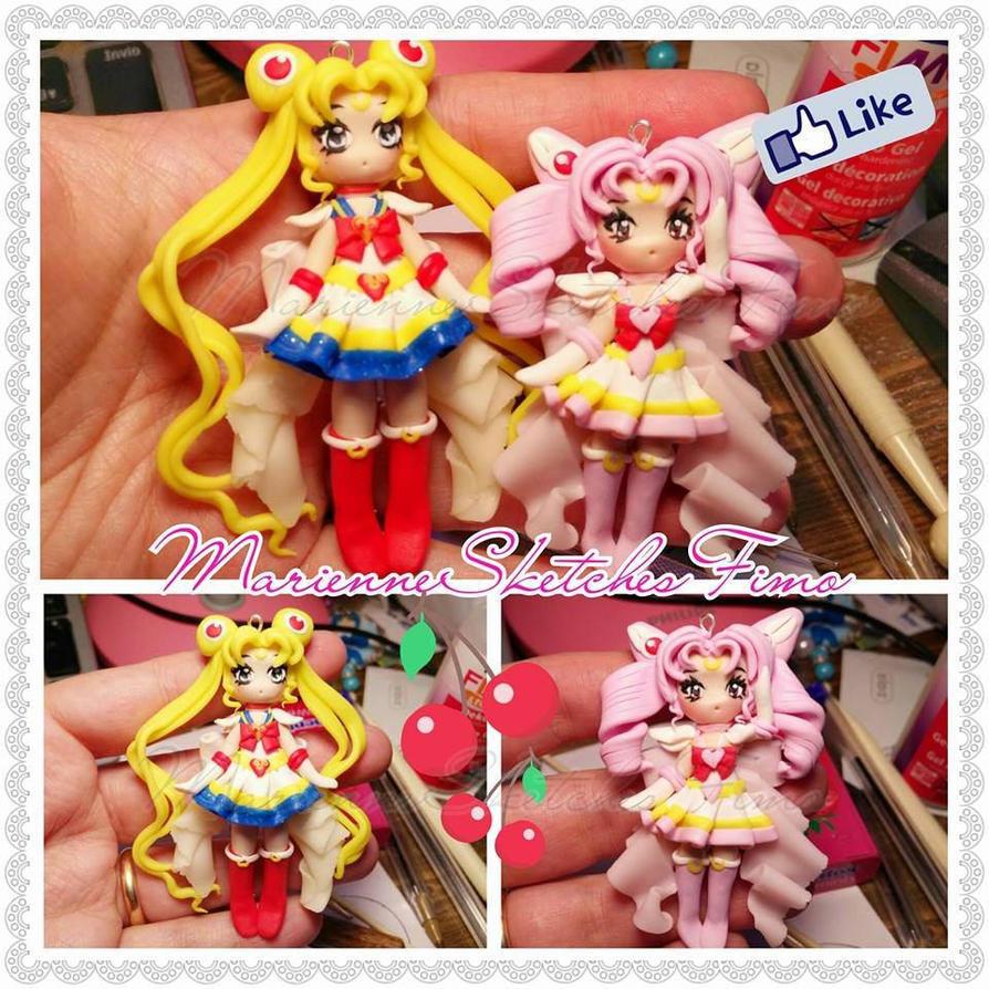 Super - Sailor Moon and  Sailor Chibiusa Pendant by DarkettinaMarienne