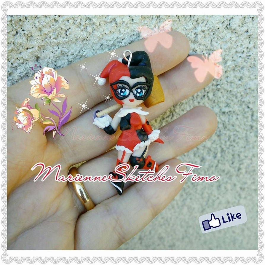 Handmade Harley Quinn Pendant Polymer Clay by DarkettinaMarienne