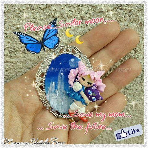 Cameo Chibiusa Crystal Tokyo Sailor Moon Handmade by DarkettinaMarienne