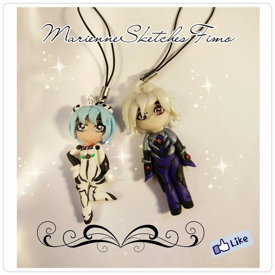 Handmade Kaworu Rei Ayanami Evangelion Phone Strap by DarkettinaMarienne