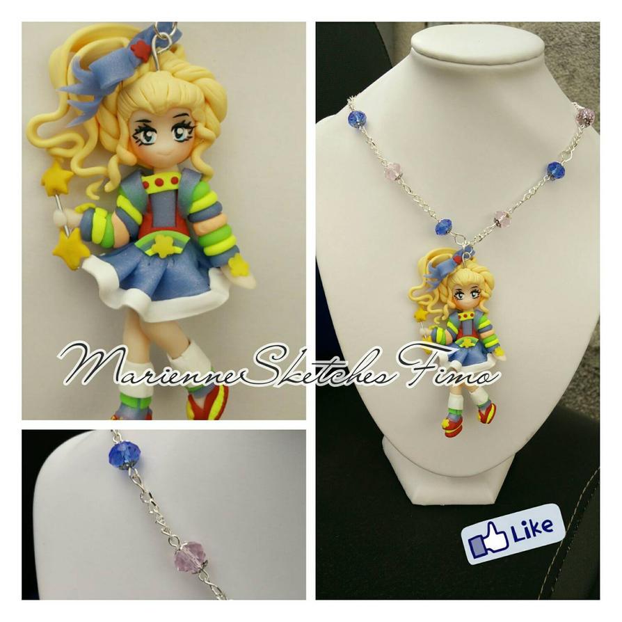 Rainbow Brite Pendant Necklace Handmade PolymerCl by DarkettinaMarienne
