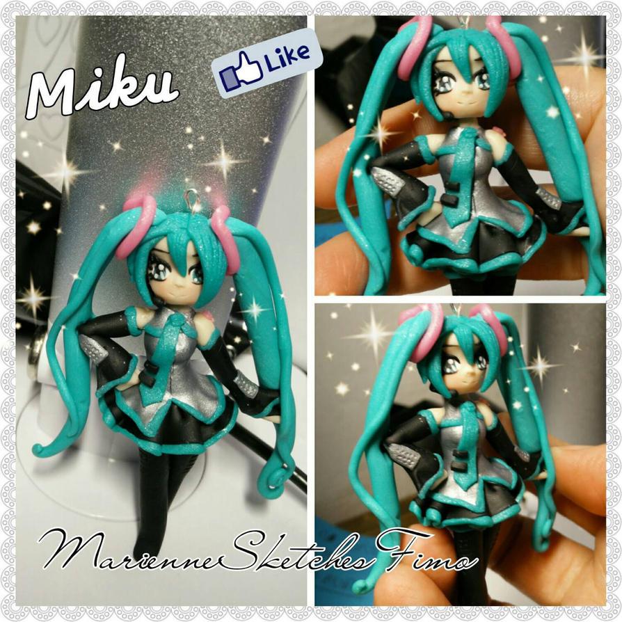 Hatsune Miku Handmade Pendant Polymer Clay by DarkettinaMarienne