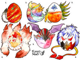 Mystery eggs: part 2, 5 are AVALIBLE by FuzzyMaro