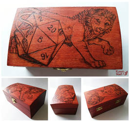Lion- pyrography on wooden box