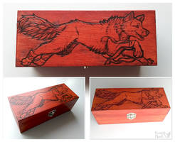Pyrography art- jumping wolf