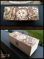 Fox in the forest -pyrography box