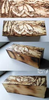 Anthro dragon-wooden box- pyrography art