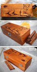 Lioness-pyrography-wooden box by FuzzyMaro
