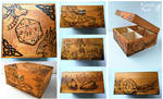 Wooden box-dragon and gryphon