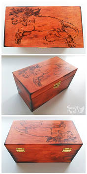 Red XIII-Pyrography-burned art by FuzzyMaro