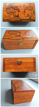 Witch wolf -pyrography box by FuzzyMaro