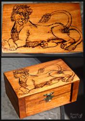 Pyrography box-lion by FuzzyMaro