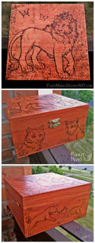 Lion and cats-art burned on box by FuzzyMaro