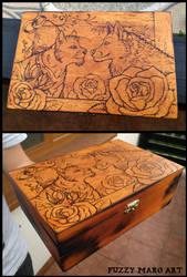 Lovely couple-Pyrography box by FuzzyMaro