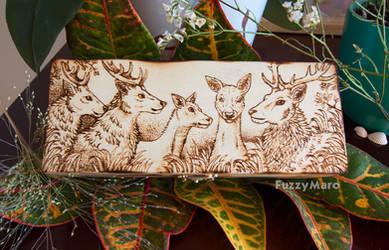 Deer family -art burned on wooden box lid by FuzzyMaro