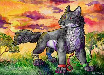 Wolf at sunset by FuzzyMaro