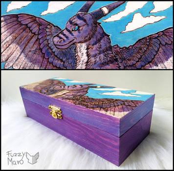 Purple dragon-art burned on a wooden box by FuzzyMaro