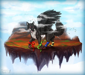 Wolf's flying island by FuzzyMaro