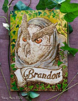 Brandon-wooden badge