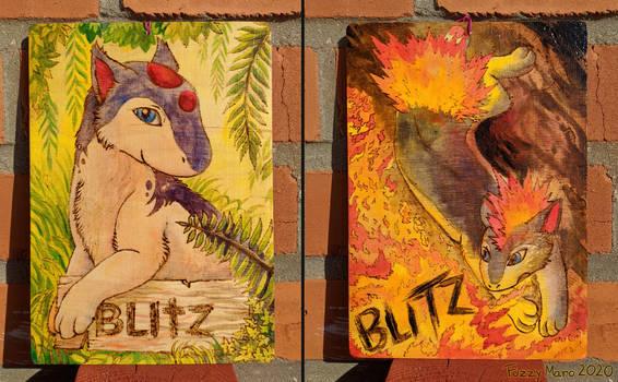 Blitz-wooden badge-pyrography