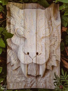 Tiger- wooden relievo