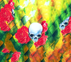 skulls and roses by MloyangDrawlo