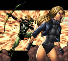 Black Canary and Green Arrow by BloodTalonHero