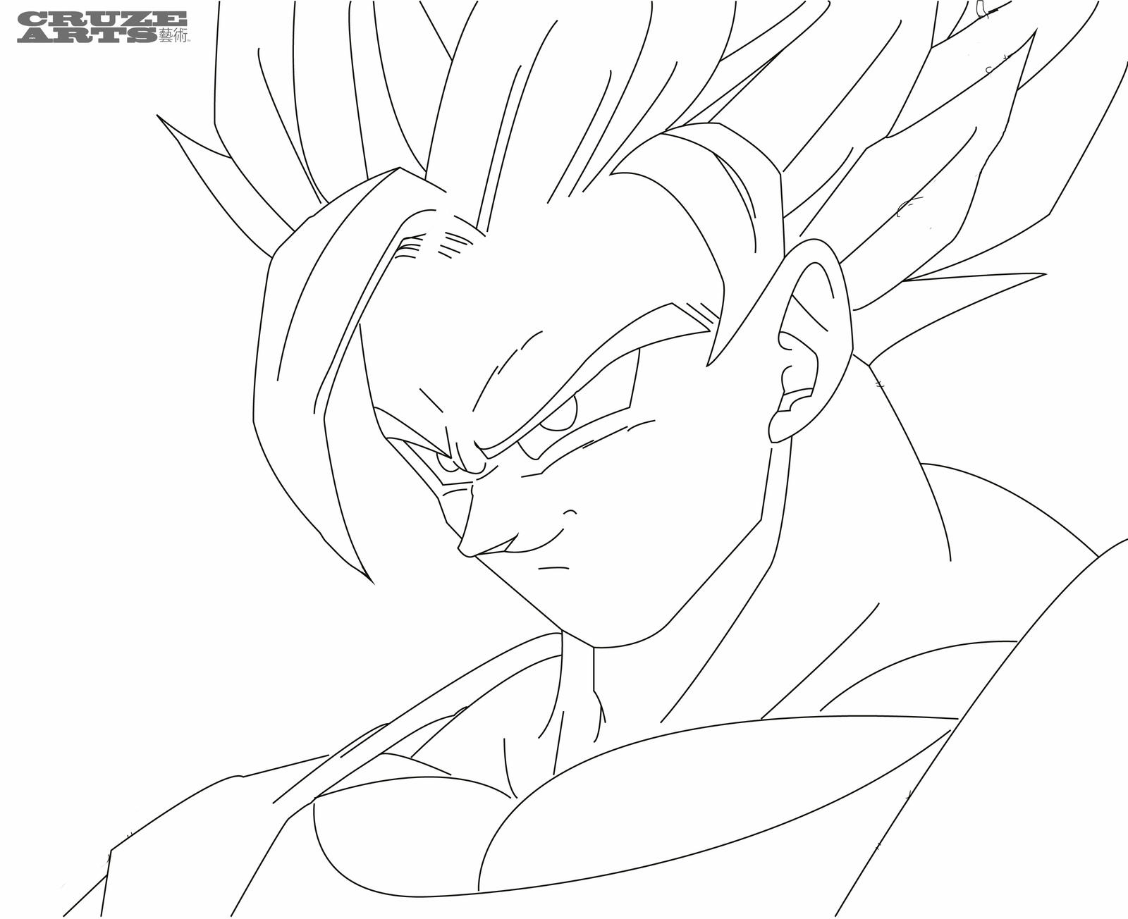 D Line Drawings Quest : Goku super saiyan line work by cruzemissile on deviantart