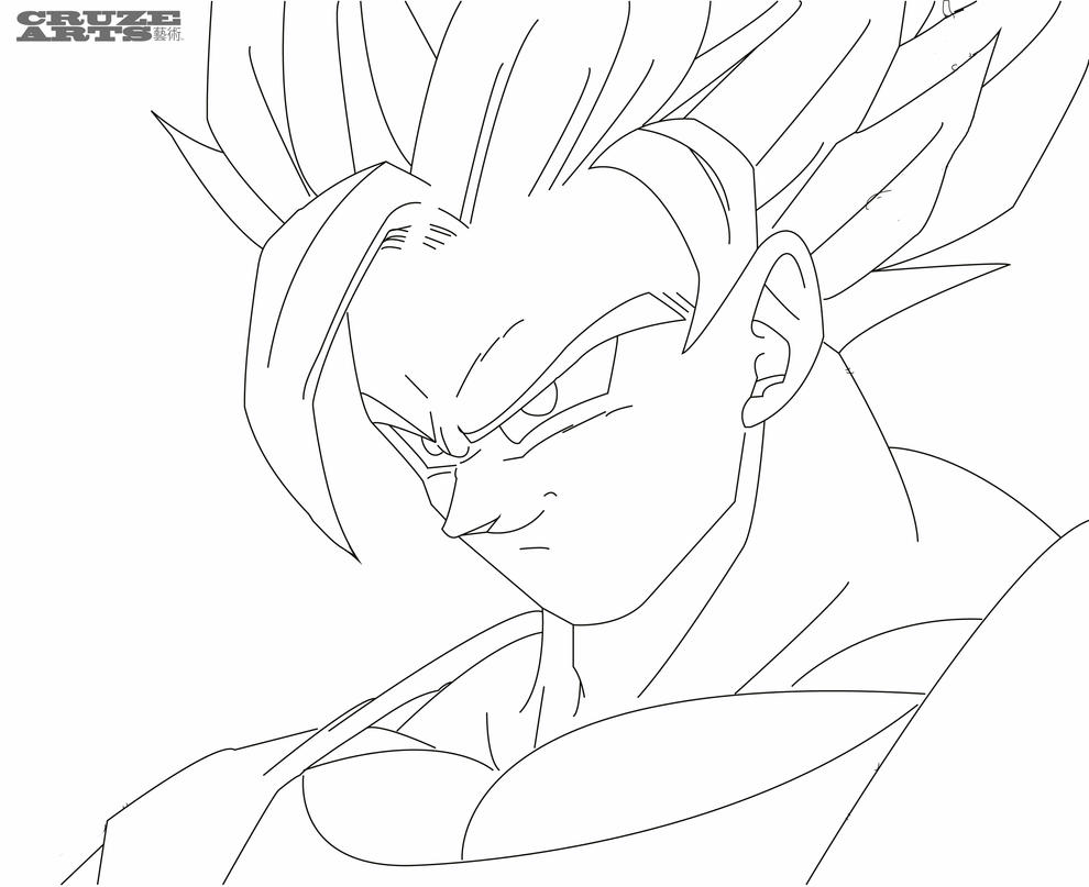 Xfig Line Drawing : Goku super saiyan line work by cruzemissile on deviantart