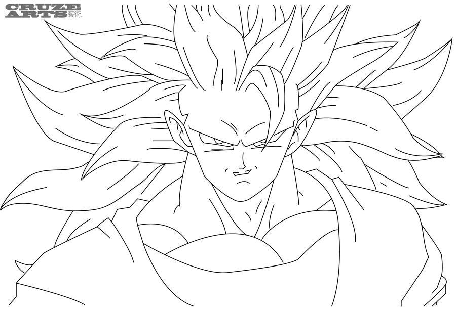 Goku super saiyan 3 line work by cruzemissile on DeviantArt