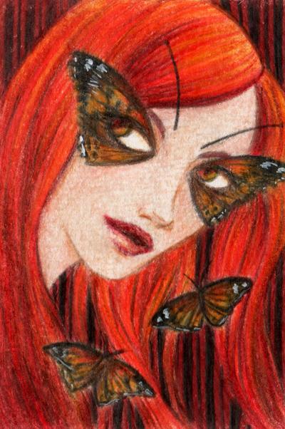 ACEO: Butterfly Girl by LaraInPink