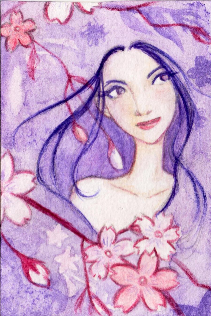 ACEO: Flower girl by LaraInPink