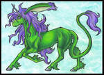 Birthday art - green unicorn