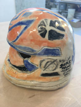 the other side of the helment showing more falcon