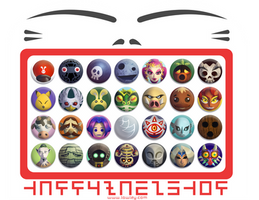 Happy Mask Shop Buttons by Versiris