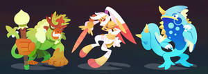 Galar Starter Final Evolutions by Versiris